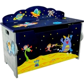 Fantasy Fields Outer Space Hand Crafted Kids Wooden Toy Chest with Safety Hinges