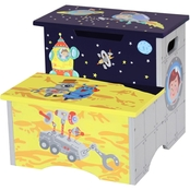 Fantasy Fields Outer Space Hand Crafted Kids Wooden Step Stool with Storage