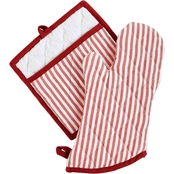 Martha Stewart Collection Striped Oven Mitt and Pot Holder Set