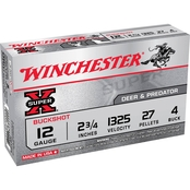 Winchester Super-X 12 Ga. 2.75 in. #4 Buckshot 27 Pellets, 5 Rounds