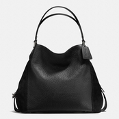 Coach Women's Edie Mixed Leather Shoulder Bag