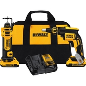 DeWalt 20V MAX* Brushless Drywall Screwgun & Cut-Out Tool Combo Kit (2.0Ah)