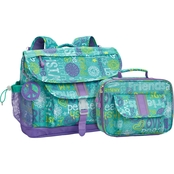 Bixbee Hope Peace Love Backpack and Lunch Kit Set