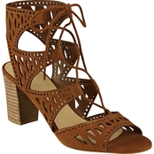 Marc Fisher Petite Laser Cut Stacked Heel Sandal