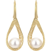 Imperial 14K Yellow Gold Filigree Style Freshwater Cultured Pearl Earrings