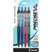 Pilot Pen V5 Deco Assorted Clear, 4 pk.