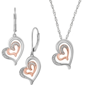 Sterling Silver with 10K Rose Gold Tone Diamond Accent 2 Pc. Set