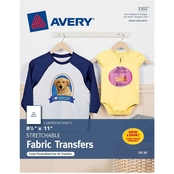 Avery Stretchable Fabric Transfers for Inkjet Printers, 8.5 x 11 in., 5 pk.