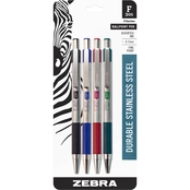 Zebra F-301 Retractable Ballpoint 0.7mm Assorted 4 pk.