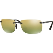 Ray-Ban Mirrored Lens Rectangle Plastic Sunglasses