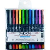 Zebra Sarasa Fineliner Pen 0.8mm Assorted 12 pk.