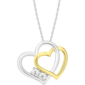 2 In Love Sterling Silver 1/7 CTW Diamond 2 Stone Heart Pendant