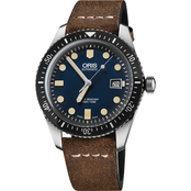 Oris Men's Divers Sixty-Five Watch with Brown Leather Strap 73377204055LS