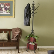 SEI Hall Tree with Rattan Storage