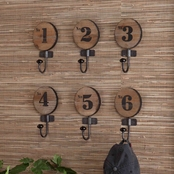 SEI Decorative Numbered Hook 6 Pc. Set