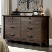 Sauder Carson Forge Dresser, Coffee Oak Finish