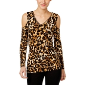 Thalia Sodi Animal Print Cold Shoulder Top