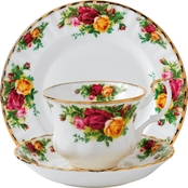 Royal Albert Old Country Roses 3 Pc. Tea Set Teacup, Plate, Saucer