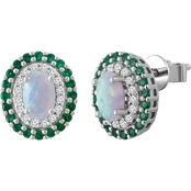 Sterling Silver Created Opal, Created White Sapphire and Simulated Emerald Earrings