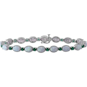 Sterling Silver Created Opal and Simulated Emerald Bracelet