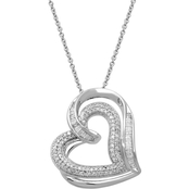 Sterling Silver 1/2 CTW White Diamond Heart Pendant on 18 In. Chain