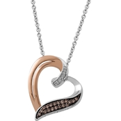 10K Pink Gold and Sterling Silver 1/10 CTW Diamond Heart Pendant on 18 In. Chain