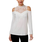 Thalia Sodi Cold Shoulder Lace Yoke Top