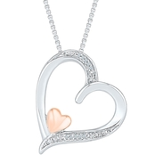 Sterling Silver & 10K Rose Gold Diamond Accent Pendant