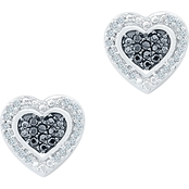 10K White Gold 1/5 CTW Diamond Heart Earrings
