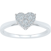 10K White Gold 1/6 CTW Diamond Heart Ring, Size 7