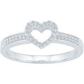 10K White Gold 1/10 CTW Diamond Heart Ring, Size 7
