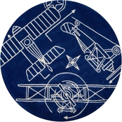 Momeni Lil Mo Hipster Airplane 5 ft. Round Rug