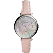 Fossil Women's Jacqueline Three Hand Date Leather Watch ES4151