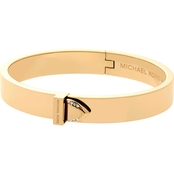 Michael Kors Knife Edge Goldtone and Crystal Hinged Bangle Bracelet