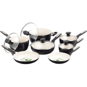 Greenpan Rio Black with Cream 12 pc. Black Aluminum Cookware Set