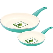 GreenLife Cook's Essentials Soft Grip 7 in. & 10 in. Open Frypans