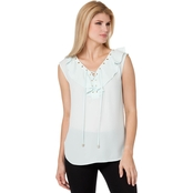 Jones New York Soft Ruffle Lace Up Top