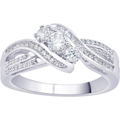 14k White Gold 1/2 CTW Diamond Three Stone Ring