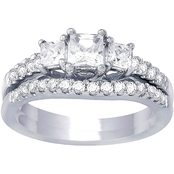 14K White Gold 1.00 CTW Diamond 3 Stone Ring