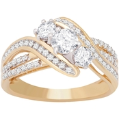 14K Yellow Gold 1.00 CTW Three Stone Ring