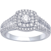 14K White Gold 1.00 CTW Round/Baguette Bridal Ring