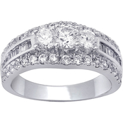 14K White Gold 1.50 CTW Three Stone Ring