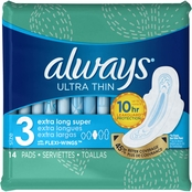 Always Ultra Thin Size 3 Extra Long Super Pads With Wings, Unscented, 14 ct.