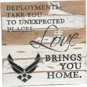 Uniformed Love Brings You Home Air Force 12 x 12 in. Reclaimed Wood Sign