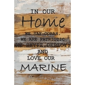 Uniformed Marine Corps In Our Home 12 x 18 in. Reclaimed Wood Sign