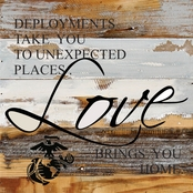 Uniformed Love Brings You Home USMC 12 x 12 in. Reclaimed Wood Sign