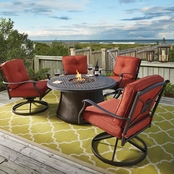 Ashley Burnella Fire Pit with Four Swivel Lounge Chairs