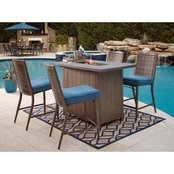 Ashley Partanna Bar Table with Fire Pit and Four Barstools