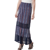 Joe B Juniors Gauze Maxi Skirt With Ruffle Bottom Crochet Trim Inset