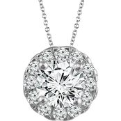 14K White Gold 1/3 CTW Diamond Halo Pendant